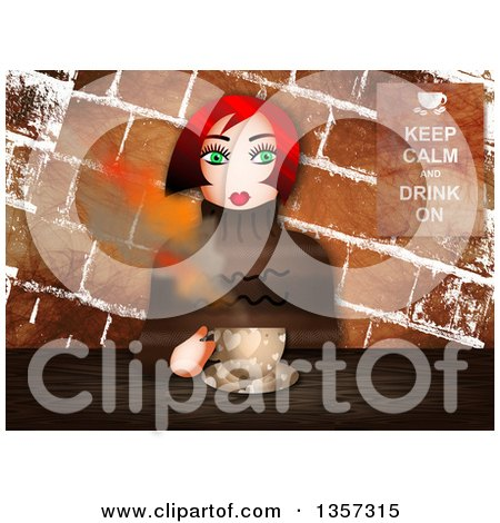 Clipart of a Green Eyed, Red Haired Caucasian Woman Sitting with Coffee Against Grungy Bricks, with a Keep Calm and Drink on Sign - Royalty Free Illustration by Prawny