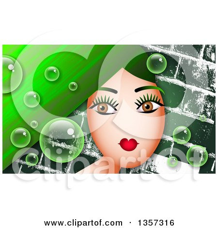 Clipart of a Brown Eyed Woman with Long Green Hair, with Bubbles over Bricks - Royalty Free Illustration by Prawny