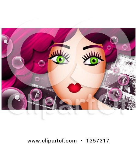 Clipart of a Green Eyed Woman with Long Pink Hair and Bubbles over Bricks - Royalty Free Illustration by Prawny