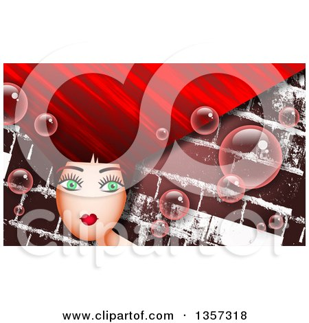 Clipart of a Green Eyed Woman with Long Red Hair and Bubbles over Bricks - Royalty Free Illustration by Prawny