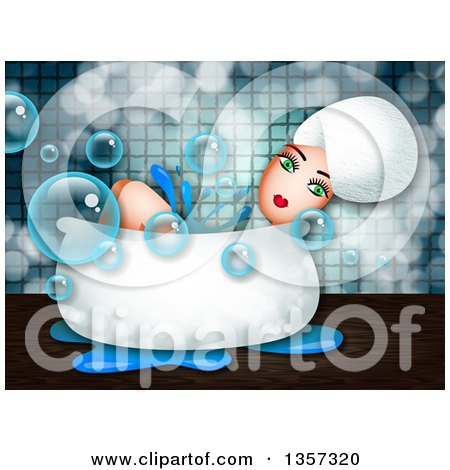 Clipart of a Green Eyed Woman Relaxing in a Bath Tub - Royalty Free Illustration by Prawny