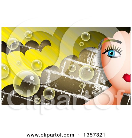 Clipart of a Partial Woman's Face with Blond Hair over Bricks with Bubbles - Royalty Free Illustration by Prawny