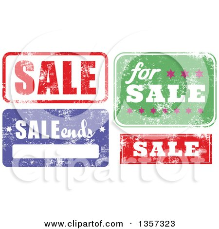 Clipart of Grungy Rubber Stamp Styled Sale Signs - Royalty Free Vector Illustration by Prawny
