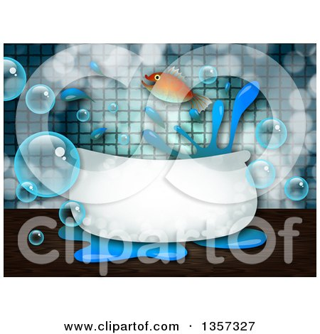 Clipart of a Fish Leaping out of a Bath Tub, with Bubbles and Splashes - Royalty Free Illustration by Prawny