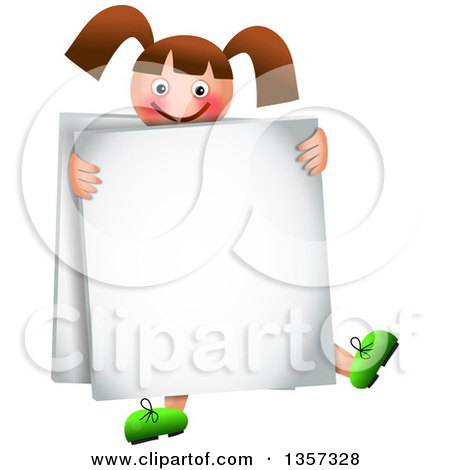 Clipart of a Happy Brunette Caucasian Girl Wearing a Sandwich Board Sign - Royalty Free Vector Illustration by Prawny