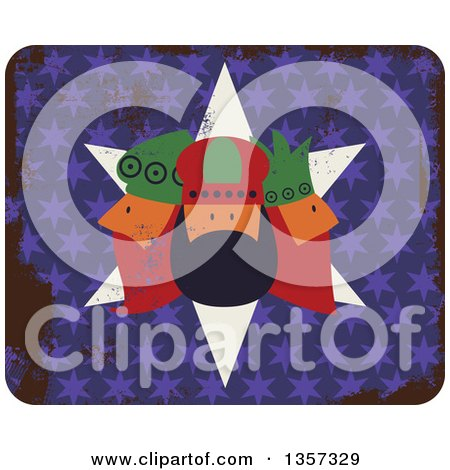 Clipart of a Rounded Corner Square Icon of the Three Kings over Grungy Stars - Royalty Free Vector Illustration by Prawny