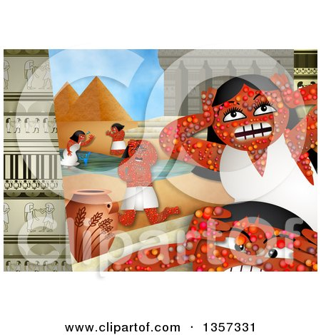 Clipart of a Scene from the Sixth Plague in the Book of Exodus, the Plague of Boils - Royalty Free Illustration by Prawny
