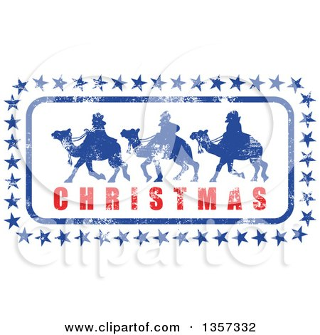 Clipart of a Grungy Design of Silhouetted Wise Men with Stars and Christmas Text - Royalty Free Vector Illustration by Prawny