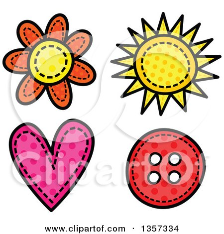 Clipart of a Doodled Polka Dot Flower, Sun, Heart and Button with Stitches - Royalty Free Vector Illustration by Prawny