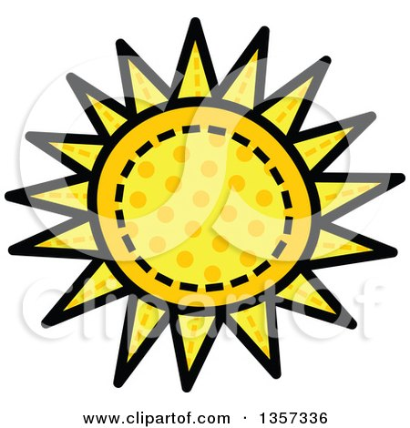 Clipart Of A Doodled Polka Dot Sun With Stitches Royalty Free Vector Illustration