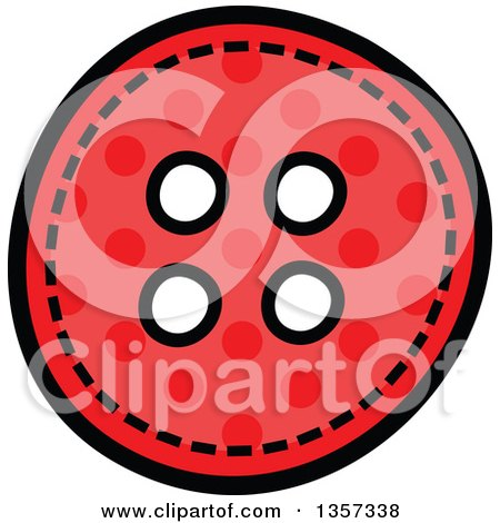 Clipart of a Doodled Red Polka Dot Button with Stitches - Royalty Free Vector Illustration by Prawny