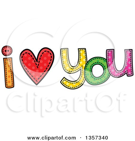 Clipart of a Doodled I Heart You Design with Stitches - Royalty Free Vector Illustration by Prawny