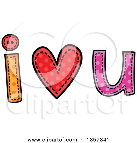 Clipart of a Doodled I Heart U Design with Stitches - Royalty Free Vector Illustration by Prawny