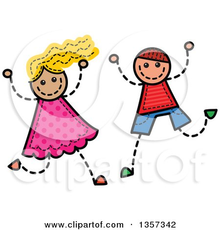 Clipart of a Doodled Blond White Girl and Brunette Boy Jumping and Cheering, with Stitches - Royalty Free Vector Illustration by Prawny