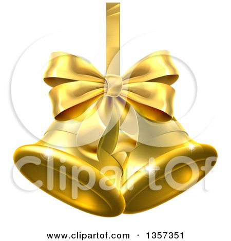 Clipart of 3d Gold Christmas Bells with a Ribbon and Bow - Royalty Free Vector Illustration by AtStockIllustration
