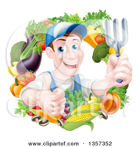Clipart of a Middle Aged Brunette White Male Gardener in Blue, Holding up a Garden Fork and Giving a Thumb up in a Wreath of Produce - Royalty Free Vector Illustration by AtStockIllustration