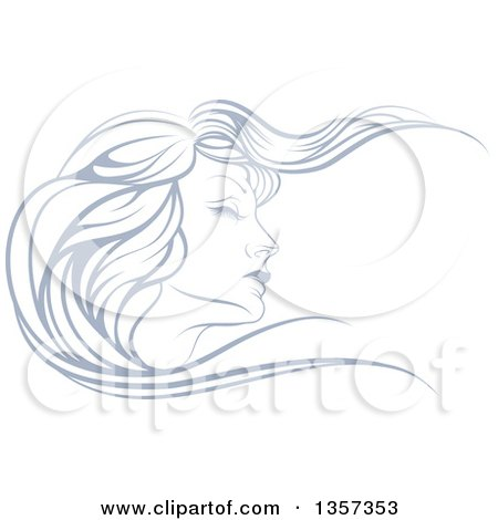 Clipart of a Beatiful Woman's Face in Profile, with Long Hair Waving in the Wind - Royalty Free Vector Illustration by AtStockIllustration