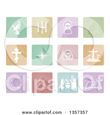 Clipart of Pastel Square Flat Design Colorful Christian Icons with Rounded Corners - Royalty Free Vector Illustration by AtStockIllustration