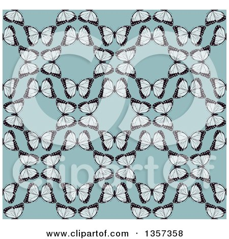 Clipart of a Seamless Background Pattern of Vintage Butterflies Forming Circles over Blue - Royalty Free Vector Illustration by AtStockIllustration