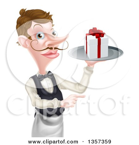 Clipart of a Cartoon Caucasian Male Waiter with a Curling Mustache, Holding a Gift on a Platter and Pointing - Royalty Free Vector Illustration by AtStockIllustration