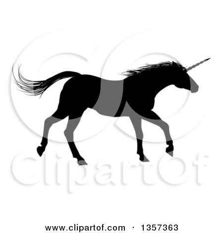 Clipart of a Black Silhouetted Unicorn Horse Running to the Right - Royalty Free Vector Illustration by AtStockIllustration