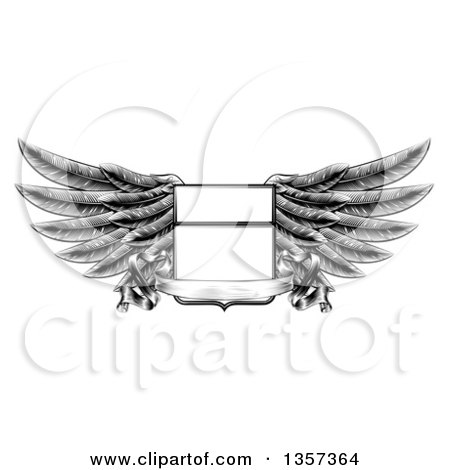 Clipart of a Black and White Engraved or Woodcut Winged Shield Insignia with a Banner Scroll - Royalty Free Vector Illustration by AtStockIllustration