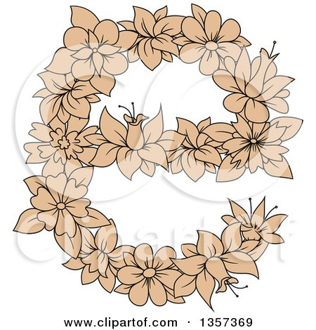 Clipart of a Tan Floral Lowercase Letter E Design - Royalty Free Vector Illustration by Vector Tradition SM