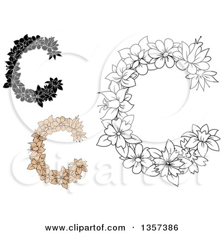 Clipart of Floral Letter C Designs - Royalty Free Vector Illustration by Vector Tradition SM
