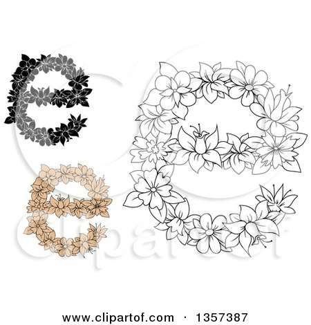 Clipart of Floral Lowercase Letter E Designs - Royalty Free Vector Illustration by Vector Tradition SM