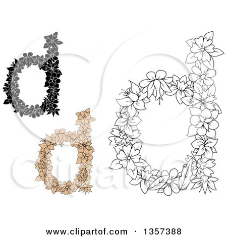 Clipart of Lowercase Floral Letter D Designs - Royalty Free Vector Illustration by Vector Tradition SM