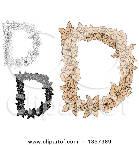 Clipart of Capital Floral Letter D Designs - Royalty Free Vector Illustration by Vector Tradition SM