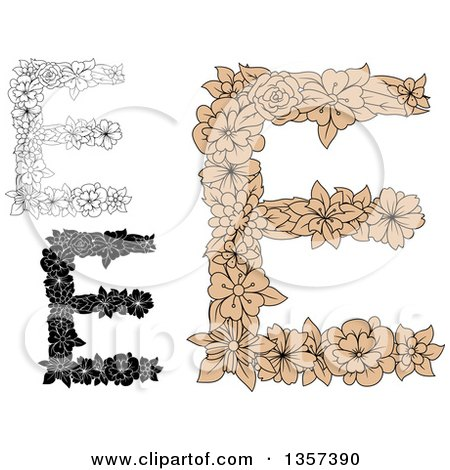 Clipart of Floral Capital Letter E Designs - Royalty Free Vector Illustration by Vector Tradition SM