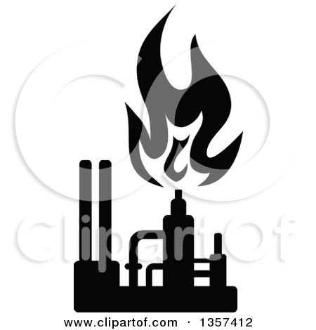 Clipart of a Black and White Silhouetted Natural Gas and Flame Factory - Royalty Free Vector Illustration by Vector Tradition SM