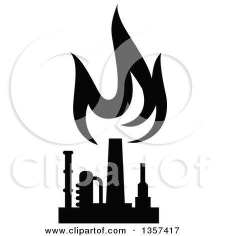 Clipart of a Black and White Silhouetted Natural Gas and ...