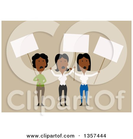 Clipart of Flat Design Black Female Protesters Holding Signs over Beige - Royalty Free Vector Illustration by Vector Tradition SM