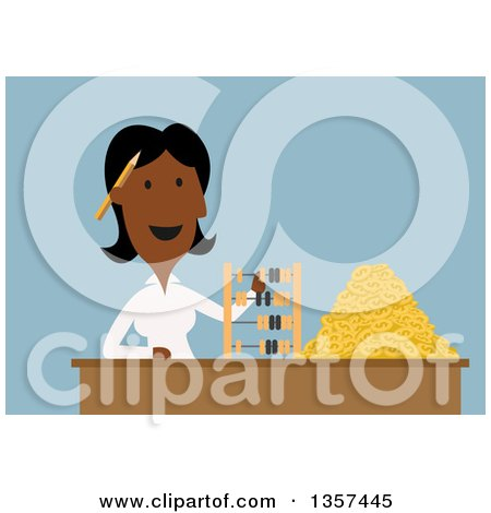 Clipart of a Flat Design Black Businesswoman Using a Wooden Abacus to Count Golden Dollar Coins - Royalty Free Vector Illustration by Vector Tradition SM