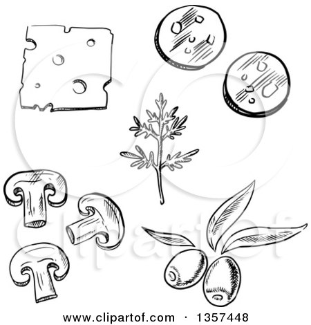 picture relating to Printable Pizza Toppings called Black and White Sketched Pizza Toppings, Cheese, Dill