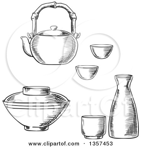 Black and White Sketched Japanese Tableware with Sake Ceramic Set, Dobin Mushi Teapot with Bamboo Handle and Donburi Rice or Soup Bowl Posters, Art Prints