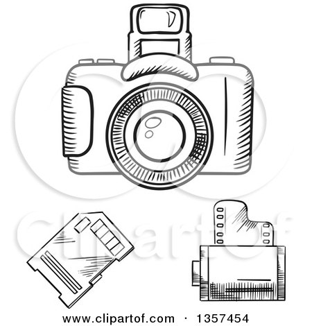 Clipart of Black and White Sketched Photography Items - Royalty Free Vector Illustration by Vector Tradition SM
