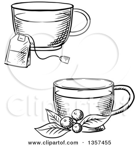 Black and White Sketched Cups of Hot Tea with a Bag and Cowberry Branch Posters, Art Prints