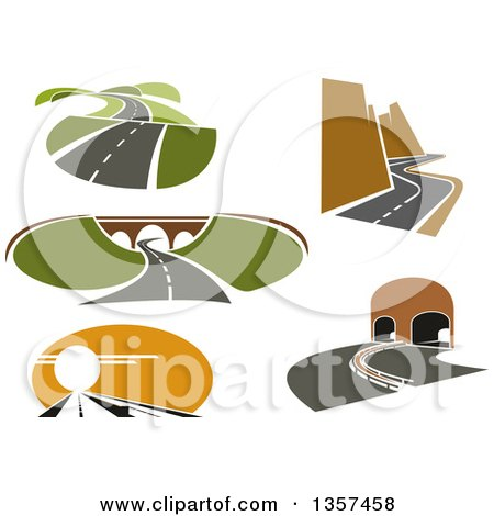 Clipart of Landscapes with Roads - Royalty Free Vector Illustration by Vector Tradition SM