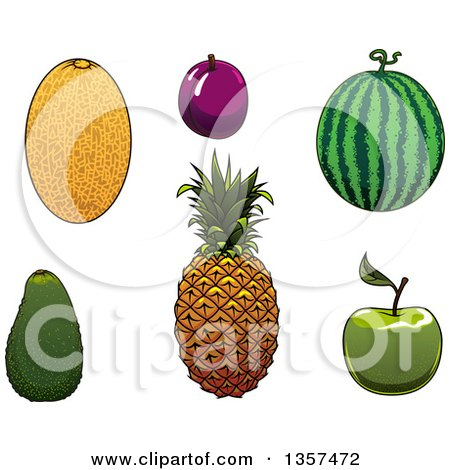 Clipart of Cartoon Fruits - Royalty Free Vector Illustration by Vector Tradition SM