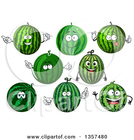 Clipart of Watermelon Characters - Royalty Free Vector Illustration by Vector Tradition SM
