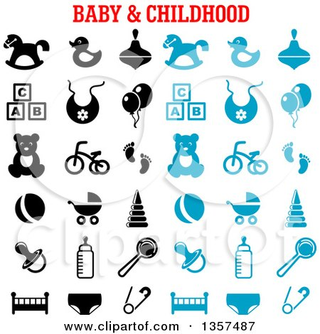 Clipart of Blue and Black Baby and Childhood Items - Royalty Free Vector Illustration by Vector Tradition SM