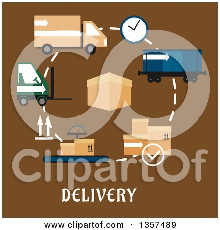 Clipart of a Flat Design Box with Delivery, Shipping and Logistics Items over Text on Brown - Royalty Free Vector Illustration by Vector Tradition SM