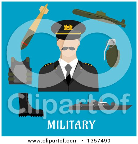 Clipart of a Flat Design Man in Uniform, Encircled by Body Armor, Army Boots, Hand Grenade, Submarine, Combat Ship and Torpedo over Text on Blue - Royalty Free Vector Illustration by Vector Tradition SM
