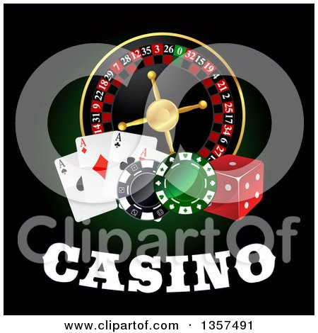 Clipart of a Casino Roulette Wheel with Poker Chips, Dice Playing Cards and Text on Black - Royalty Free Vector Illustration by Vector Tradition SM