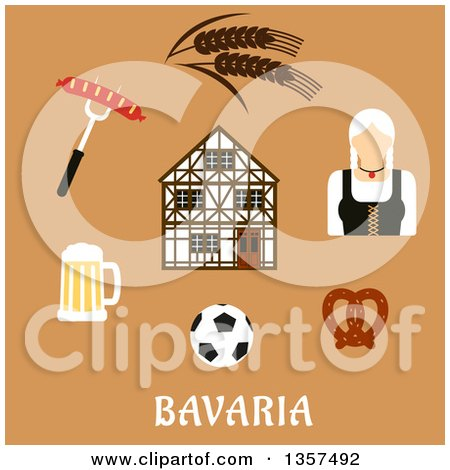 Clipart of a Flat Design Woman and Bavaria Travel Icons over Text on Tan - Royalty Free Vector Illustration by Vector Tradition SM