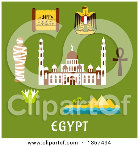 Clipart of Flat Design Egypt Travel Icons over Text on Green - Royalty Free Vector Illustration by Vector Tradition SM