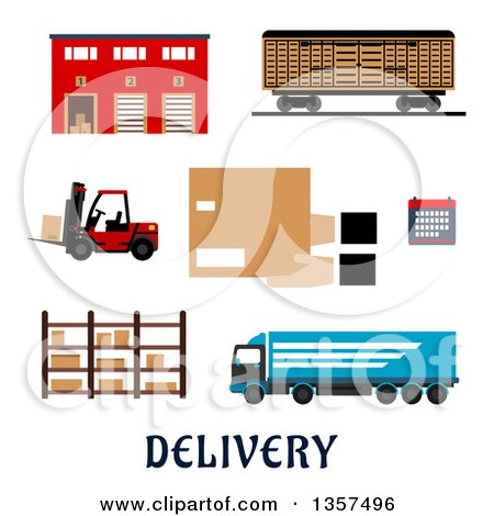 Clipart of a Flat Design Warehouse Building, Freight Wagon, Cargo Truck, Forklift Truck, Storage Rack, Calendar and Hands with Parcel Cardboard Box - Royalty Free Vector Illustration by Vector Tradition SM